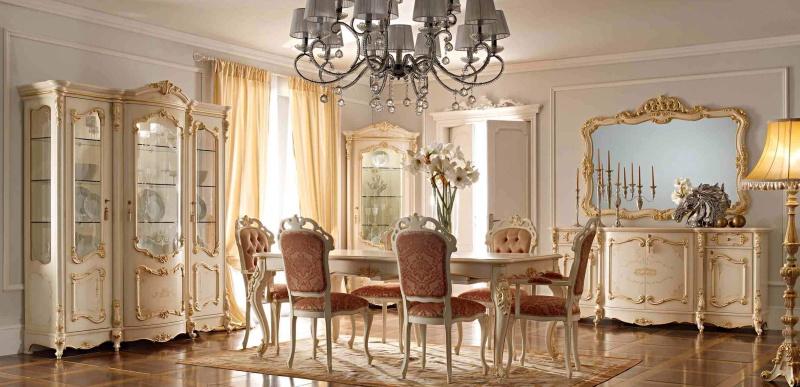 Столовый гарнитур с резными элементами стиль классический Prestige