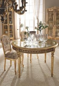 Круглый столовый стол с позолотой и стекляной столешницей Giorno