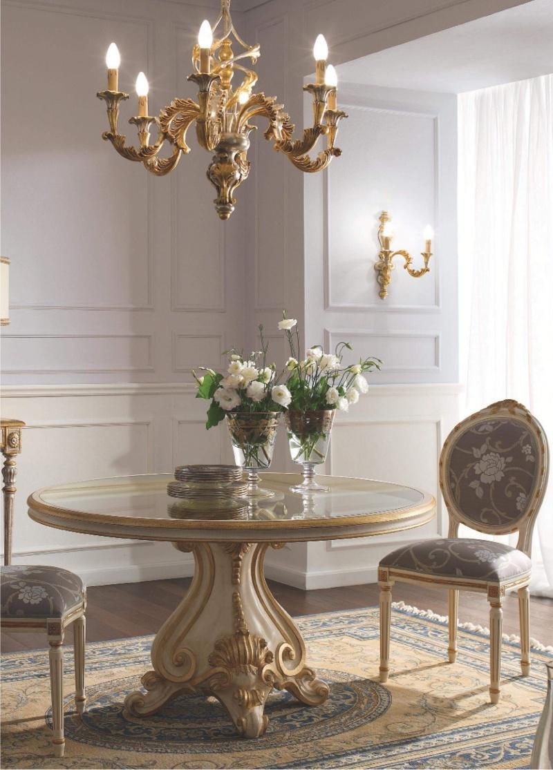 Столовый стол со стульями с патиной и золотом Giorno