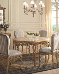 Столовый круглый столик с плетеной резьбой ручной работы и золотом Giorno