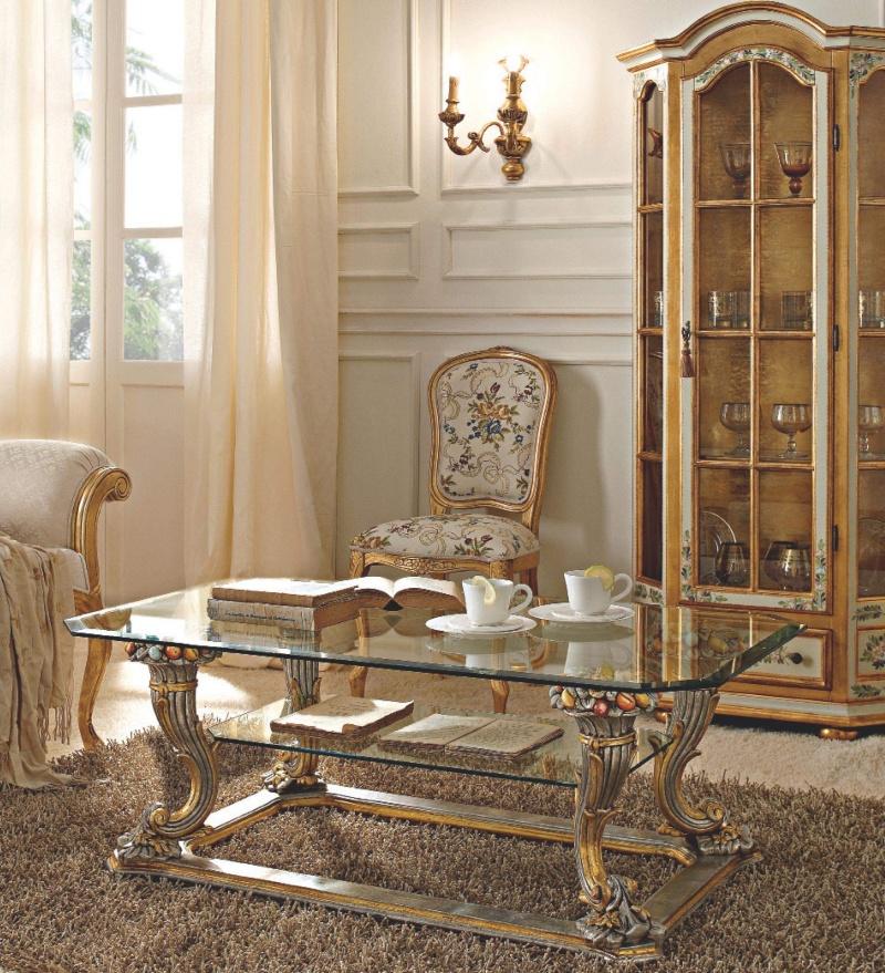 Стекляный журнальный столик золото с серебром Giorno