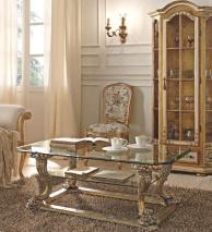 Стекляный журнальный столик золото с серебром Giorno Andrea Fanfani