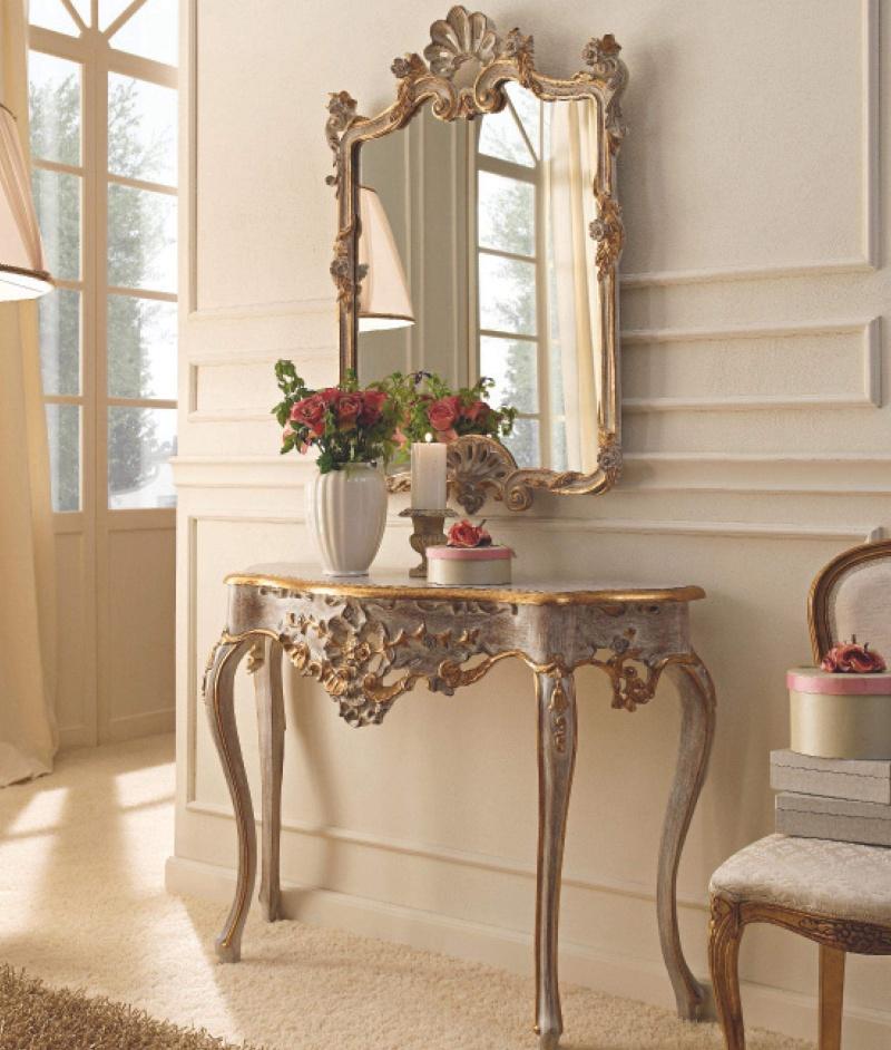 Консоль с зеркалом в позолоте и патине Giorno