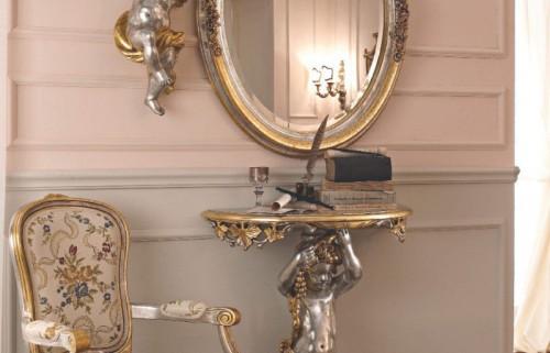 Овальное зеркало и столик с ножкой в виде ангелочков  Giorno
