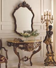 Резная консоль с зеркалом орехового цвета Giorno