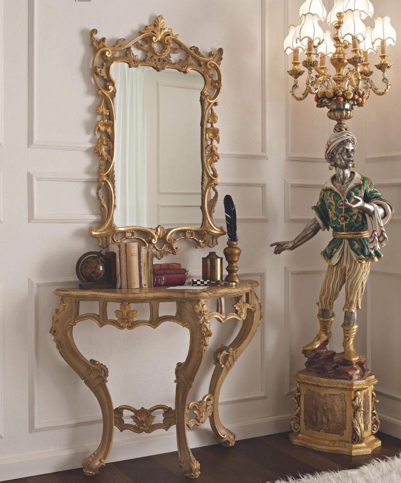 Консольный столик с зеркалом и ажурной резьбе и позолоте Giorno