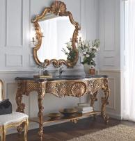 Зеркало и столик с раковиной на резных ножках Giorno
