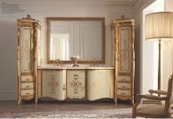Мебель для ванной комнаты с большим зеркалом и с позолоченым орнаментом  Giorno
