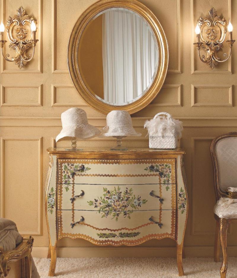 Комод с цветным орнаментом бежевого цвета и овальное зеркало Notte