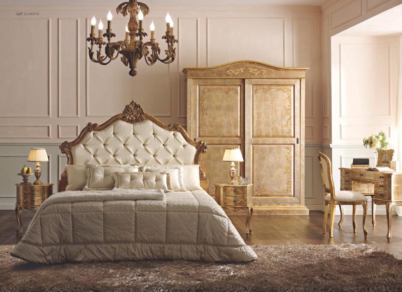 Патинированная мебель в спальню обивка капитоне Notte