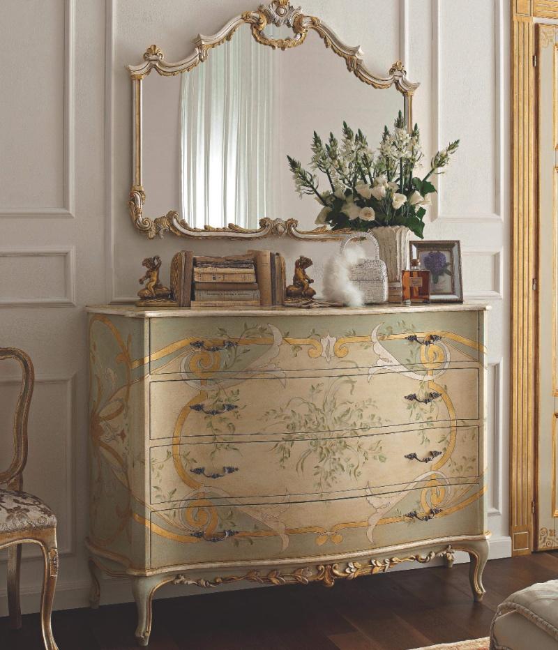 Комод с орнаментом и позолотой с зеркалом  Notte