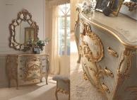 Комод и зеркало с рельефной резьбой в золоте Notte