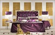 Двухспальная кровать - обивка фиолетовый гобелен Antico Borgo