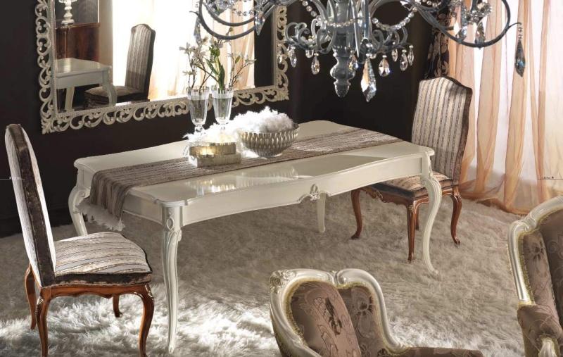 Белый столовый столик с ррезаным декором Antico Borgo Living