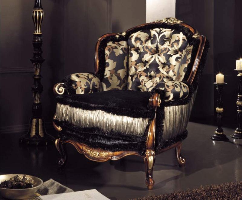 Мягкое кресло в обивке капитоне Antico Borgo Neoclassico Gold