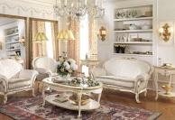 Белая мягкая мебель в гостиную с позолотой Antonelli Moravio AM