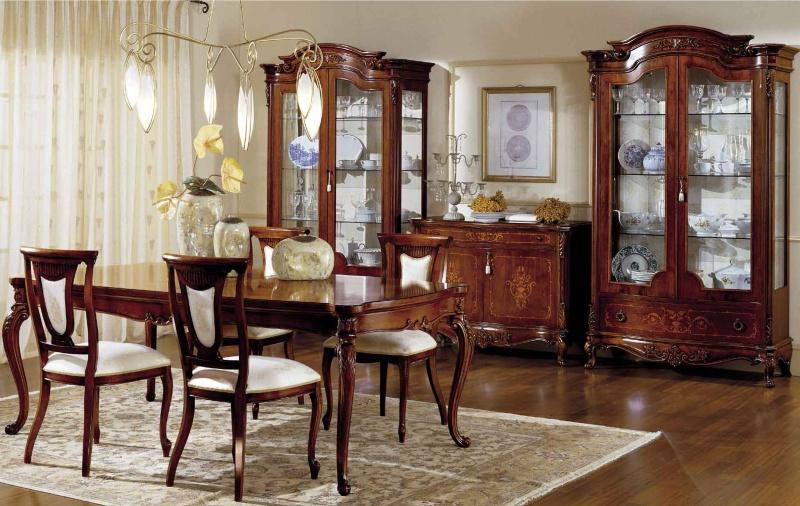 Столовый стол со стульями с резным декором ручной работы Antonelli Moravio AM