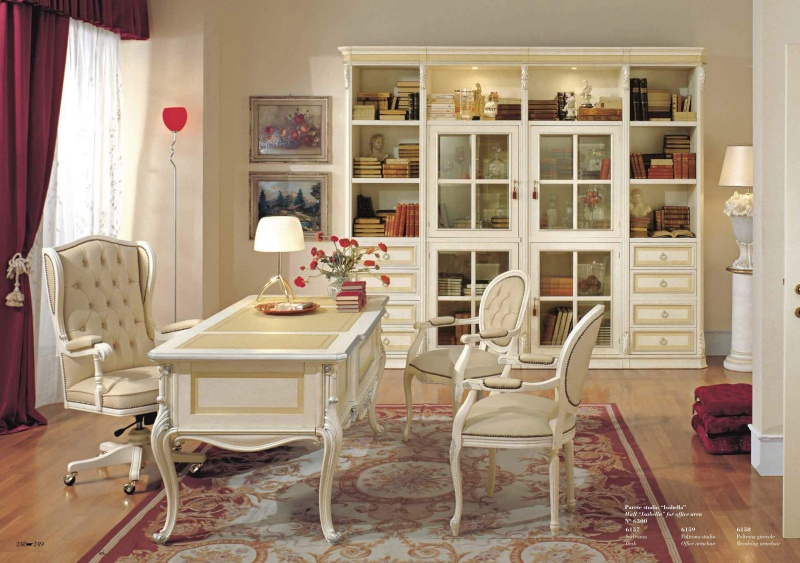 Роскошный кабинет для дома с резьбой в белом цвете Antonelli Moravio AM