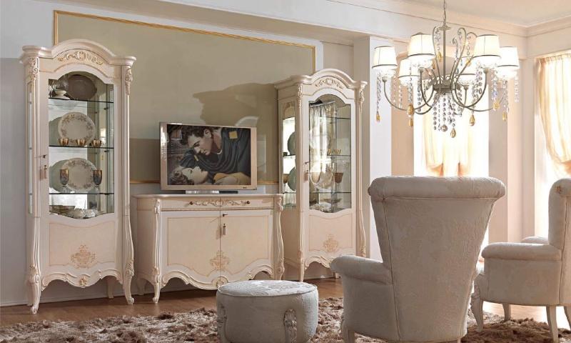 ТВ композиция в гостиную - цвет белый - Италия - Prestige Barnini Oseo