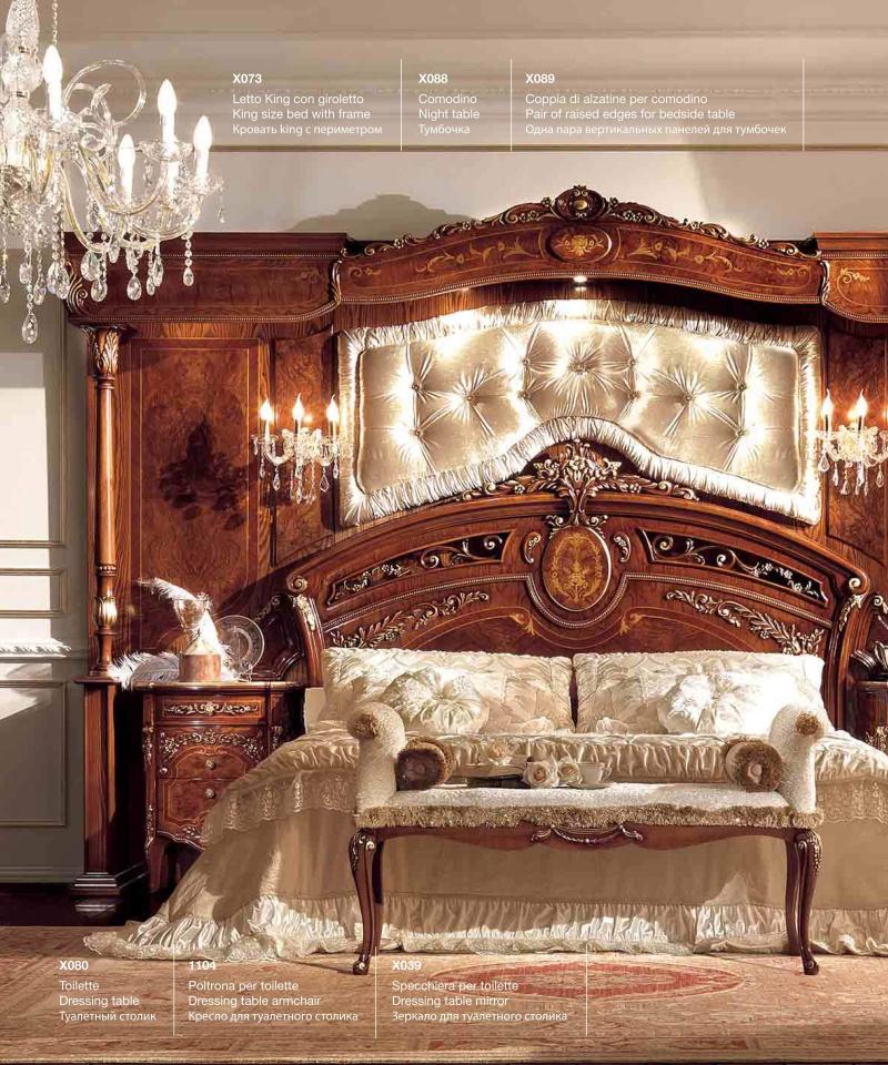 Набор мебели в спальню с ручной резьбой и инкрустацией Reggenza