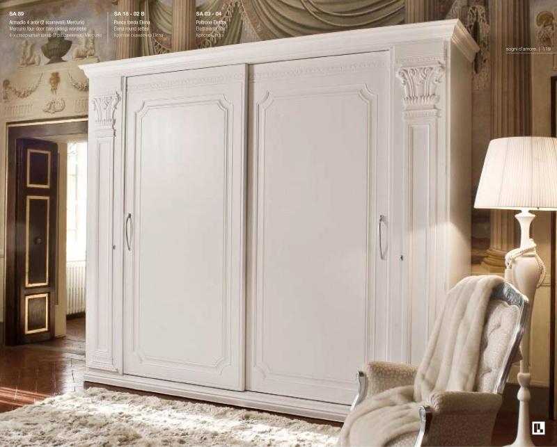 Белый 4-х створчатый гардеробный шкаф с орнаментом Sogni d Amore