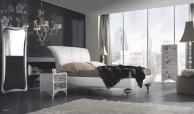 Современная спальная кровать с высоким подголовем на резных ножках Notte