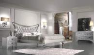 Просторная спальная кровать в белом цвете с серебром Proposal  20