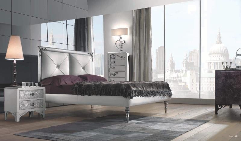 Спальная кровать на высоких резных ножках - цвет белый Proposal  21