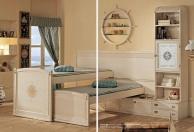 Выдвижная двухярусная кровать белая с эфектом патины Vecchia Marina  Caroti