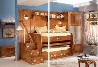 Двухярусная детская кровать со ступеньками и гардеробным шкафом Vecchia Marina  Caroti