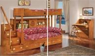 Двухярусная кровать со ступеньками цвета натурального дерева Vecchia Marina  Caroti