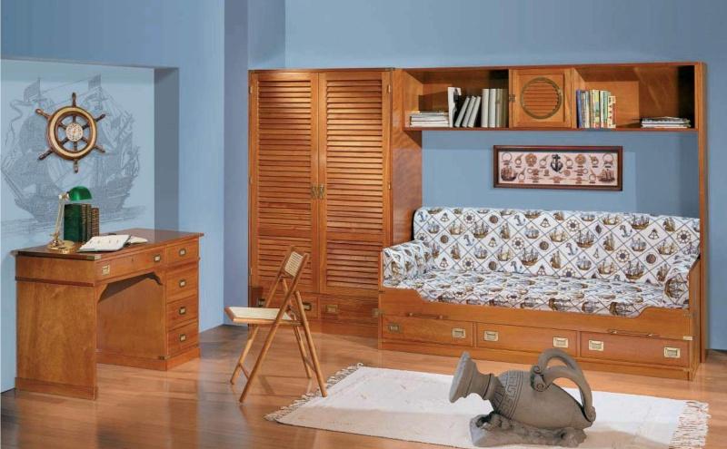 Комплект мебели для детской комнаты - цвет орех - морской стиль Vecchia Marina  Caroti