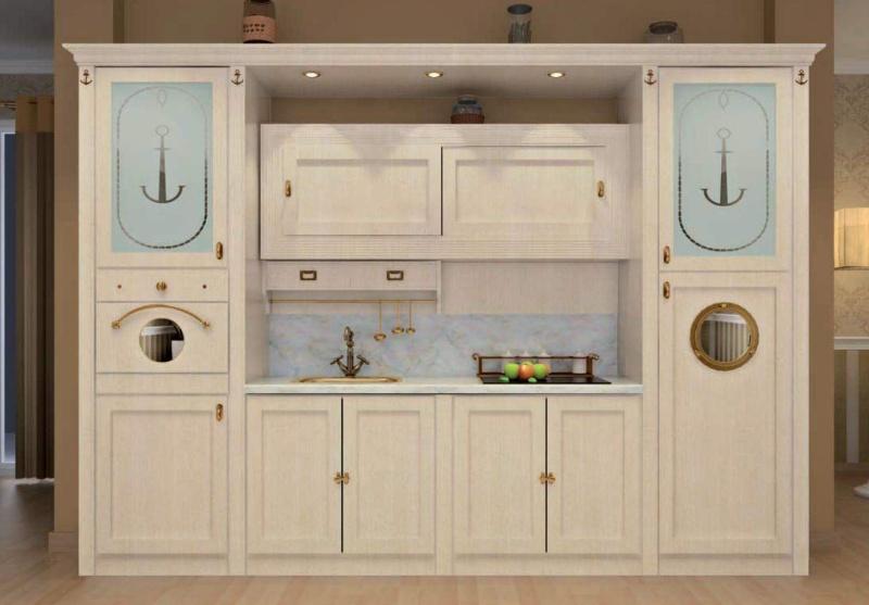 Кухонная стенка - белая с патиной Vecchia Marina  Caroti