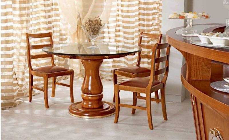 Столовый стол со стекляной столешницой и тремя стульями Vecchia Marina  Caroti