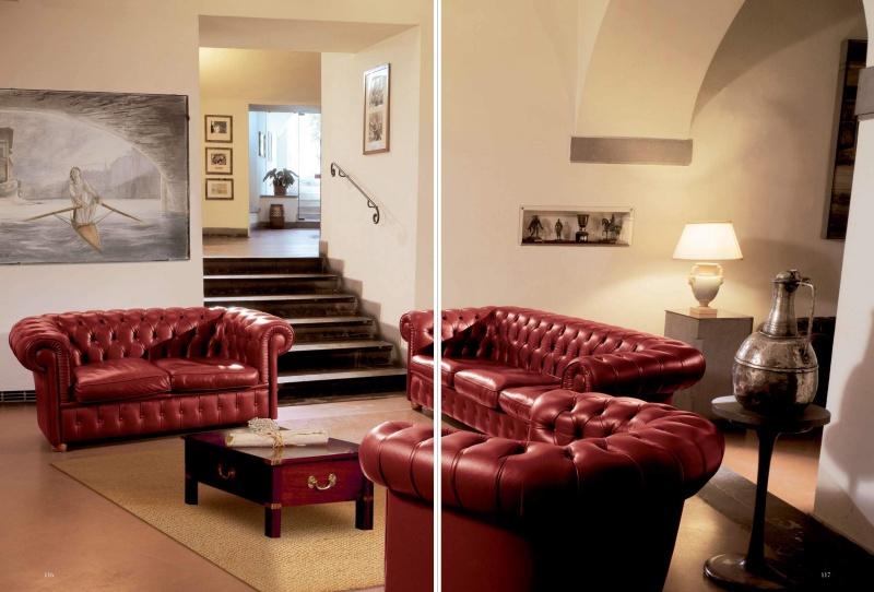 Мягкая мебель для гостиной в обивке капитоне - кожа Vecchia Marina  Caroti
