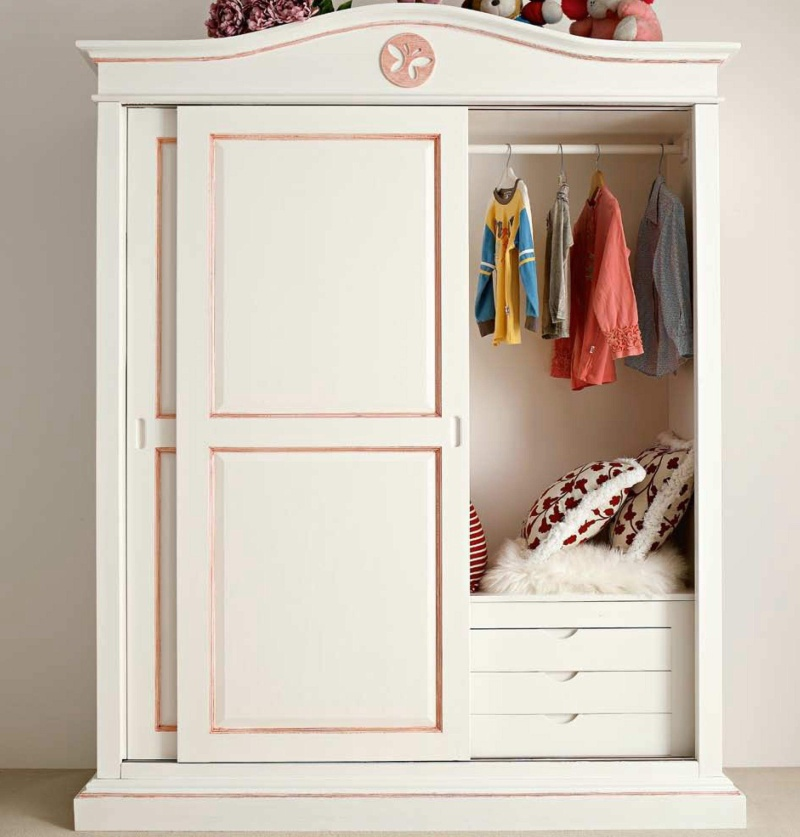 Детский гардеробный шкаф - цвет белый с розовым Il Componibile