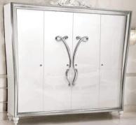 Гардеробный 4-х дверный шкаф серебристого цвета Ellelux