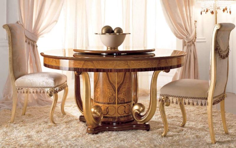 Круглый столовый стол - декор золото Jasmine  Valderamobili