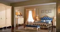Классическая спальня - кровать в синей обивке - Principe