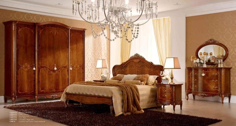 Гарнитур мебели для спальни - орех с инкрустацией Principe