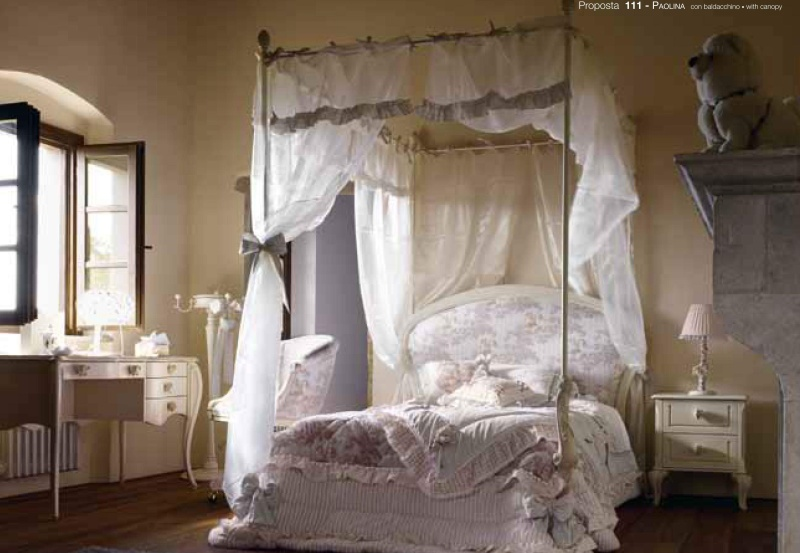 Голубая кровать с баладхином - детская - Paolina