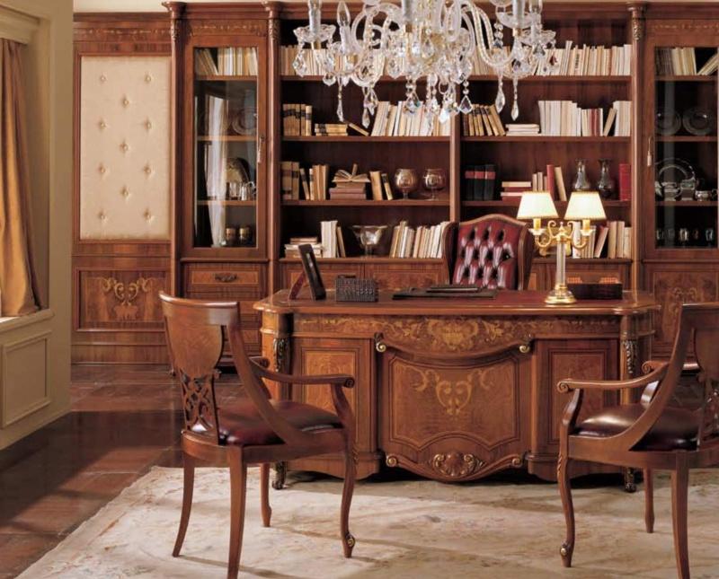Кабинет из массива с резьбой фабрика Grilli  модель The Book