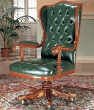 Кабинетное кресло в зелёной обике на роликах The Book