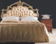 Двухспальная кровать с изголовьем в обивке капитоне - беж The Book