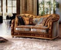 Диван гостиный в коричневой обивке A Linea