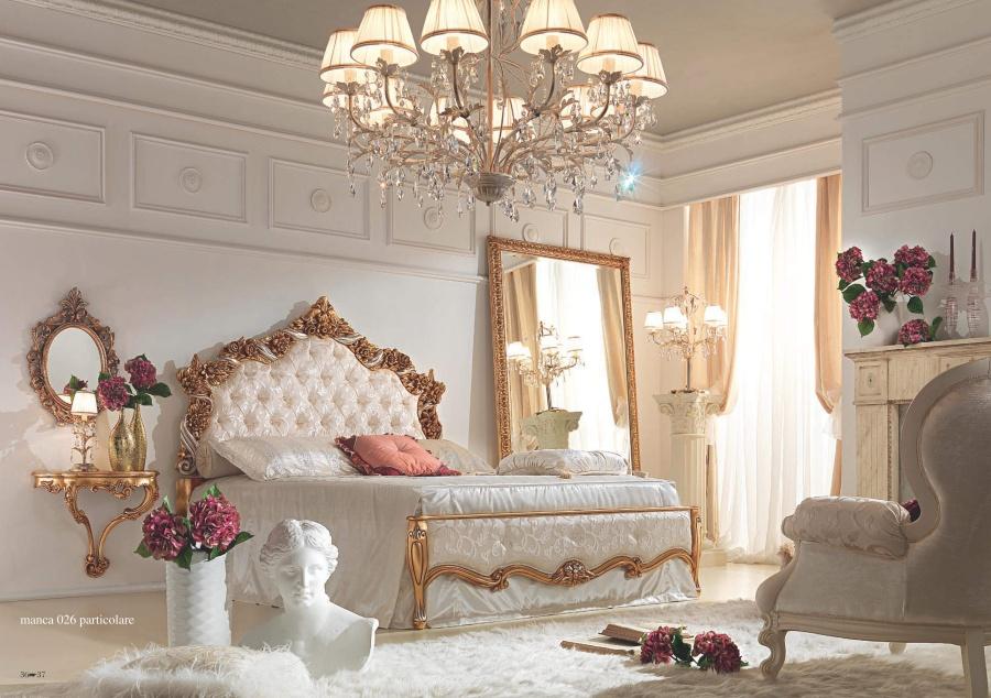 Кровать с резным изголовьем - сусальное золото Antonelli Moravio Belvedere