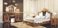 Кровать с кожаным мягким изголовьем капитоне Signorini Coco La Medicea