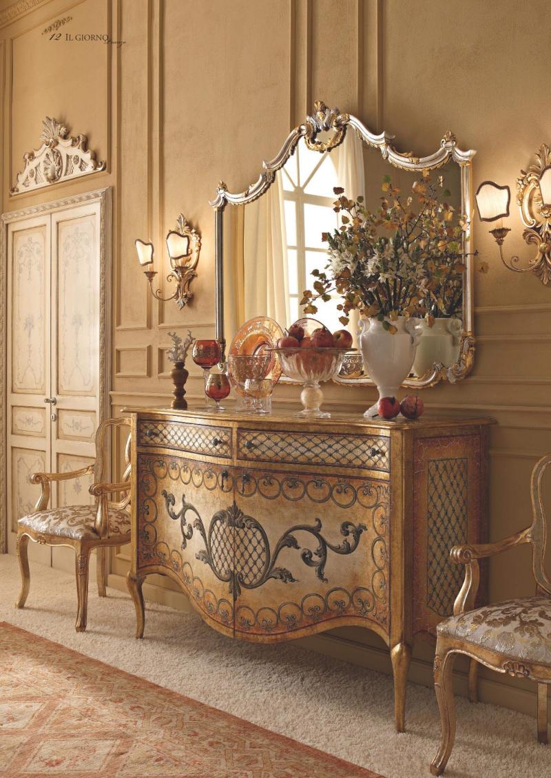 Комод с зеркалом - декорированый росписью и золотом Giorno