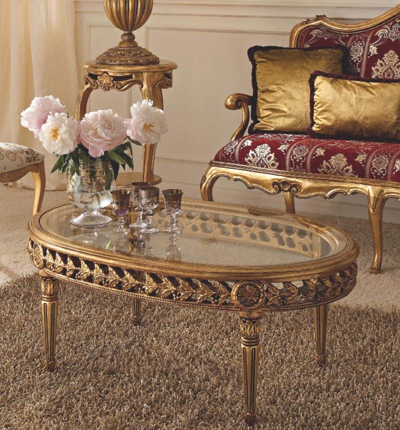 Овальный журнальный столик с позолоченной резьбой в золоте Giorno