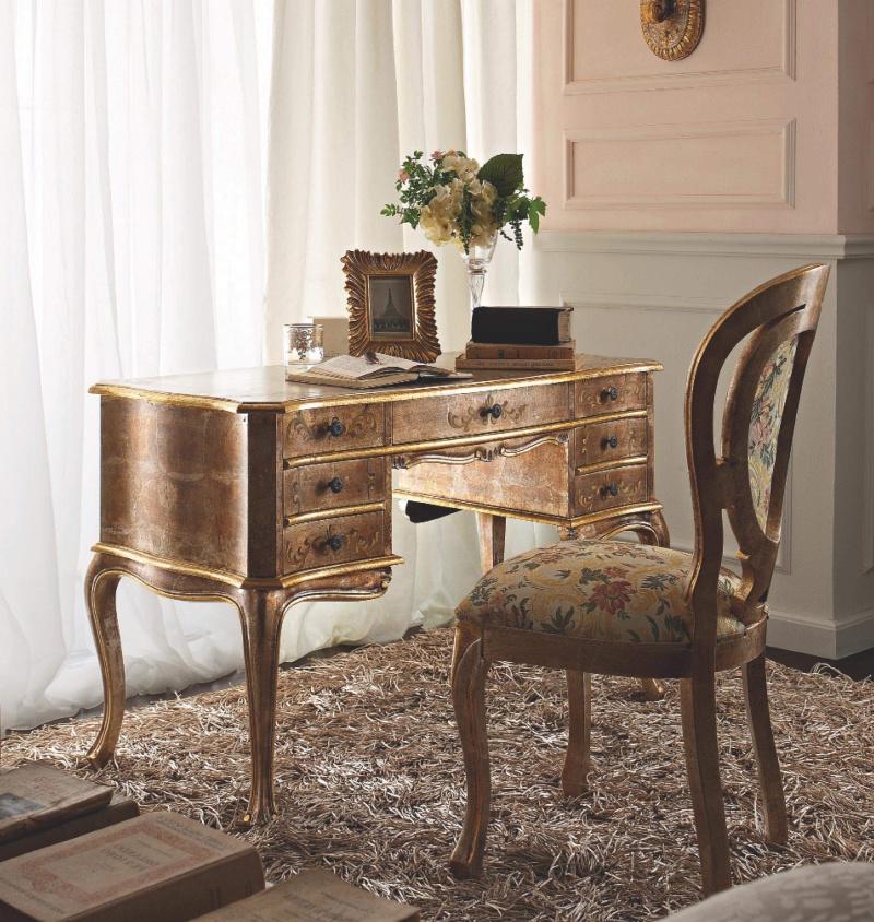 Письменный столик в золоте с выдвежными ящиками Giorno